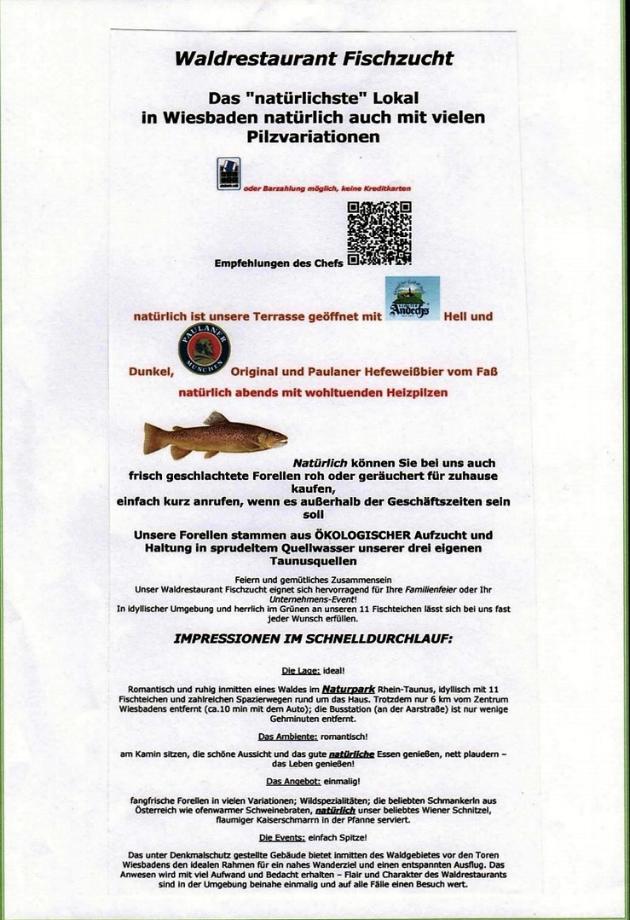 Die Speisekarte zeigt Ihnen den Weg zum Fischzuchtretausrarant